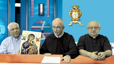 Il P. Generale dei Redentoristi Michael Brehl, insieme a due Consiglieri, presentano il Giubileo durante una conferenza stampa.