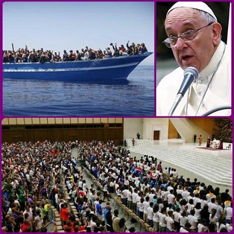 """Papa Francesco, nell'Aula Paolo VI in Vaticano davanti ai 1500 ragazzi del Movimento eucaristico giovanile, ha rinnovato l'invito all'accoglienza, aggiungendo: """"Respingerli è un atto di guerra"""". Poi rivolto ai giovani ha chiesto di """"non andare in pensione a 20 anni""""."""