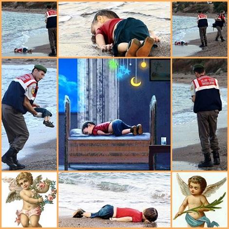Il bambino con la faccia nella sabbia si chiamava Aylan: tre anni, pantaloncini al ginocchio, una maglietta rossa, le braccia stese dalla risacca. La corrente lo ha spinto indietro, fino alla spiaggia di Bodrum, Turchia, la stessa spiaggia da cui era partito. Non si conosce ancora la dinamica del naufragio... Si è aperto un dibattito sulla questione del se sia giusto o meno pubblicare le foto dei piccoli siriani annegati. Un popolo in fuga in cerca della pace che gli è stata ingiustamente negata. Il dipinto al centro, pubblicato su Facebook, fa sperare che Aylan sia cullato tra le braccia di Dio.  Il rispetto per questo bambino, che scappava con i suoi fratelli e i suoi genitori da una guerra che si svolge alle porte di casa nostra, pretende che tutti sappiano. Pretende che ognuno di noi si fermi un momento e sia cosciente di cosa sta accadendo sulle spiagge del mare in cui si va in vacanza.