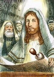 Gesù nella sinagoga di Nazareth.