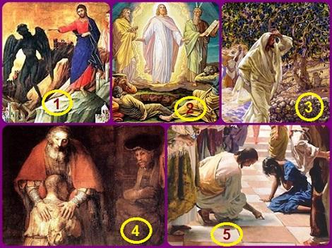 L'itinerario delle domeniche di quaresima Anno C = 1. Gesù vince le tentazioni del diavolo - 2. Gesù si trasfigura davanti ai discepoli - 3. Il fico che non porta frutto - Il figlio prodigo ritorna a casa - 5. La donna adultera è perdonata.