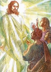 Gesù si trasfgura davanti ai discepoli.