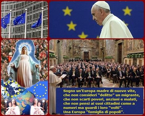 """Papa Francesco: """"Sogno un'Europa madre di nuove vite, che non consideri """"delitto"""" un migrante, che non scarti poveri, anziani e malati, che non pensi ai suoi cittadini come a numeri ma guardi i loro """"volti"""". In definitiva, a un'Europa """"famiglia di popoli""""."""