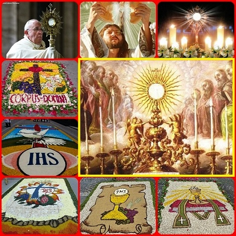 La solennità del Corpus Domini, in molti luoghi è rallegrata da bellissime infiorate che esaltano il Mistero dell'Eucaristia. E' onorare il Corpo di Cristo sacrificato per noi; ma il cristiano non può dimenticare che la Carne di Cristo è quella dei sofferenti, dei malati, dei profughi che bosogna onorare con ogni rispetto e amore.
