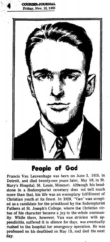 Il redentorista Novizio Francis X. Van Leuvenhage  con un breve profilo del giornale locale Courier-Journal, 18 nov. 1966.