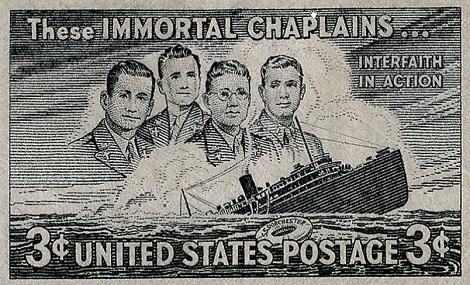 Nessuna immagine del redentorista P. James Kearns, C.Ss.R. 1901-1955 – USA, Provincia di Baltimora. Nella seconda guerra mondiale era stato cappellano militare non solo in patria, ma anche in Iran, affrontando rischiose traversate oceaniche (la foto mostra l'eroica morte di 4 cappellani militari affondati con la propria nave).