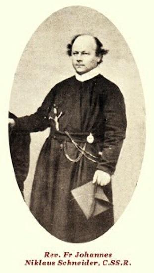 Il redentorista P. John Schneider, 1821-1873, Borussia, Provincia Flandrica Nel 1865 dal Padre Generale fu inviato negli gli Stati Uniti, dove insegnò teologia morale agli studenti redentoristi. Morì a New Orleans nel 1873, a 51 anni.