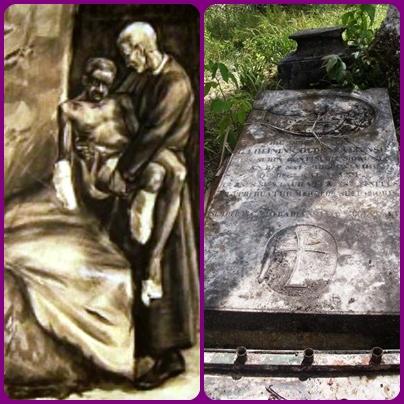 Nessuna immagine del redentorista P. Johannes Bakker, 1833-1890, Paesi Bassi, Provincia di Amsterdam. Nacque in Olanda e la Provvidenza trasformò questo umile figlio prima in un Fratello laico, poi in un sacerdote e in un eroe. Nel Suriname da Fratello diventò Sacerdore e divenne apostolo dei lennrosi, come il Beato Donders, del quale la foto mostra il sepolcro originario e un disegno con i lebbrosi. Morì contagiato volutamente da un lebbroso, a 57 anni.