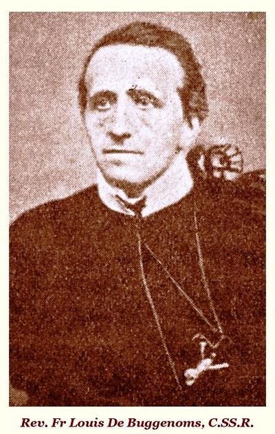 """Il redentorista P. Louis De Buggenoms, 1816-1882, Belgio (Congregatio universalis, al momento della professione).  diventando sacerdote nel 1843.  L'anno seguente partì per l'Inghilterra con un altro padre e il fratello Felician. Su richiesta del Rev. Padre Smetana, egli compilò in inglese """"Il libro della Missione"""", libro che fece un buon lavoro nelle missioni stesse. P. De Buggenoms morì nel 1882 a 66 anni."""