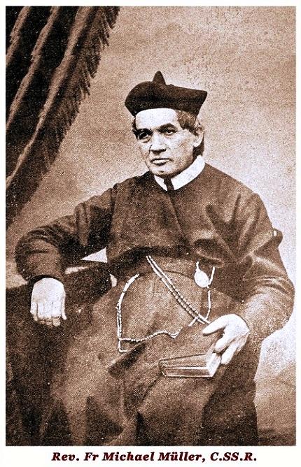 Il redentorista P. Michael Mueller, 1825-1899, Borussia, Provincia Flandrica, poi di St. Louis negli USA. Nacque in Germania nel 1825. Professò i voti di Redentorista nel 1848 e prima di aver completato i suoi studi in Wittem, fu inviato in America. Fu ordinato sacerdote a Philadelphia nel 1853 da S. Giovanni Neumann. Morì in Annapolis nel 1899.73 anni