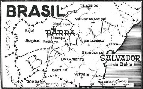 Una carta geo-ecclesiale della diocesi di Barra, campo di animazione del vescovo Mons. Cloin (lo chiamavano Tiago Cloin).