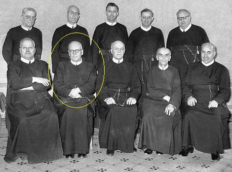 Il P. Generale Gaudreau e i suoi Consultori nel 1965; Fila superiore da sinistra a destra i Padri: Gredler, Elliott, Jones, Amaral, Zipper – Seduti, da sinistra a destra i Padri: Büche, De Ceuninck, Gaudreau, Kaczewski, Bianco.