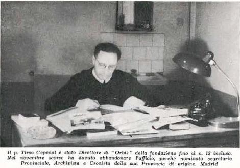 P. Tirso Cepedal Román al lavoro per la pubblicazione di ORBIS, di cui è stato direttore negli anni 1967-1969 a Roma. Poi è stato richiamato nella sua Provincia (Madrid).